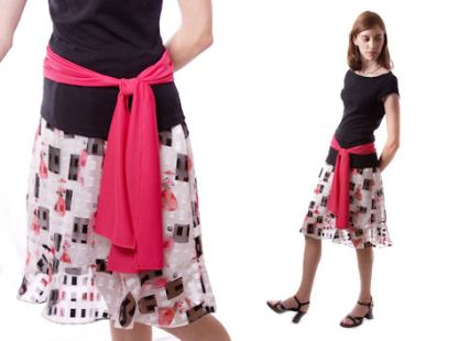 "Sheer ""Dior-sketch"" print skirt with coordinating sash."