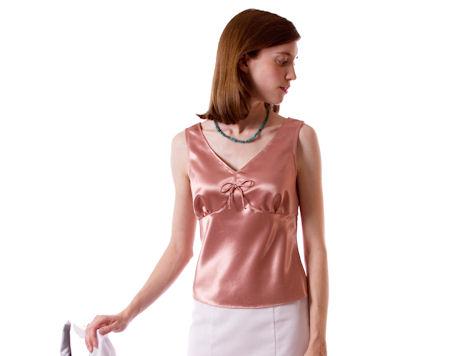 Blush pink satin camisole top.