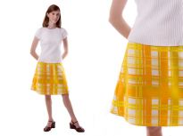 A-line skirt made from vintage 1970′s plaid fabric.