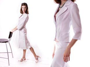 White skirt suit.