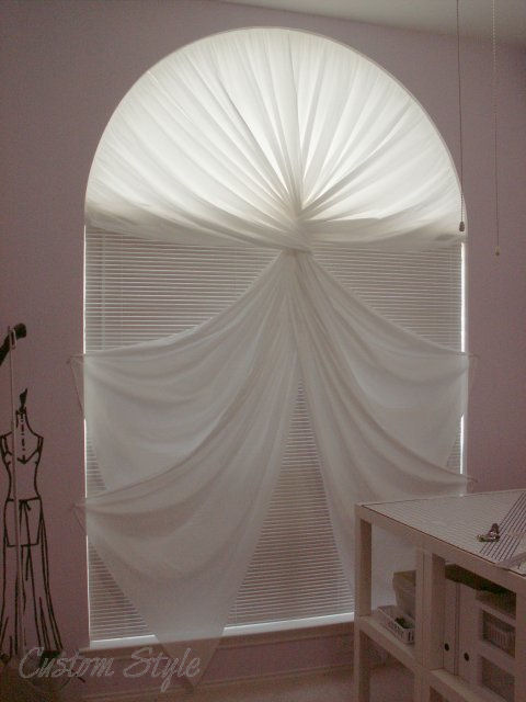 Custom window treatments for arched windows - Diy Curtain For A Palladian Window Custom Style