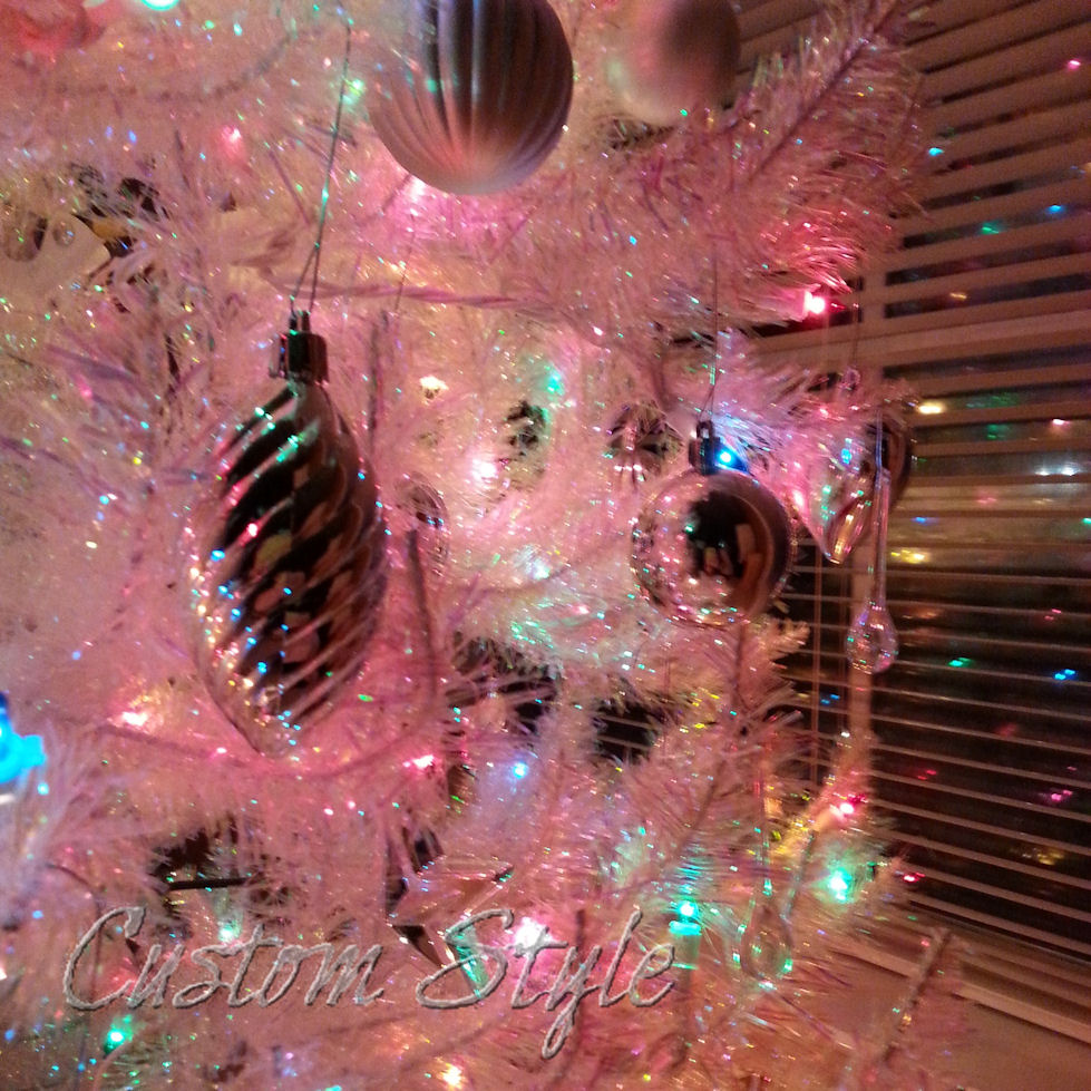 Iridescent White Christmas Tree Closeup