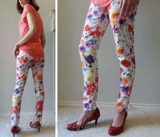 Floral-Print-Skinny-Pants