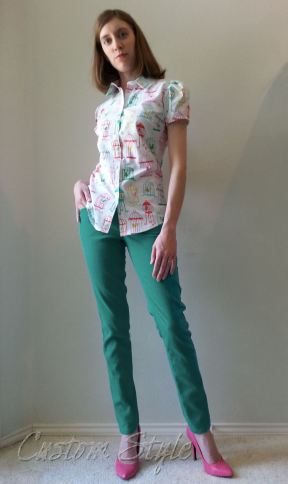 Teal-Jacquard-Skinny-Pants